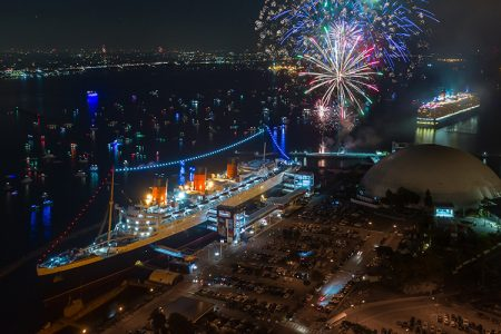 Cunard Celebrates Opening of Historic Exhibit on the Queen Mary with Salute by RMS Queen Elizabeth in Long Beach, CA on July Fourth