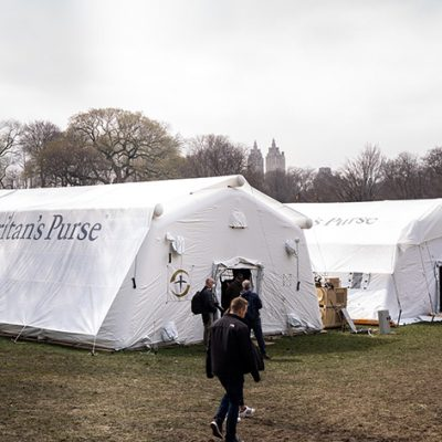 A 68-bed Emergency Field Hospital Erected in NYC's Central Park in Response to COVID-19
