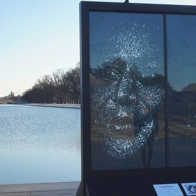 Glass Portrait of VP Kamala Harris at Lincoln Memorial Celebrates Her Shattering of Historic Glass Ceiling