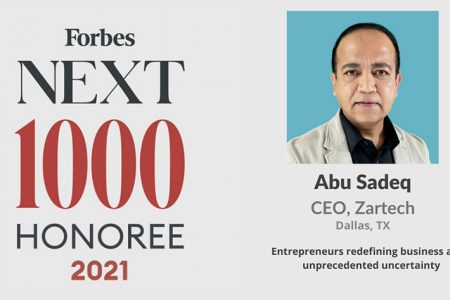 Zartech's CEO & Founder Abu Sadeq Recognized on Forbes 'Next 1000' List