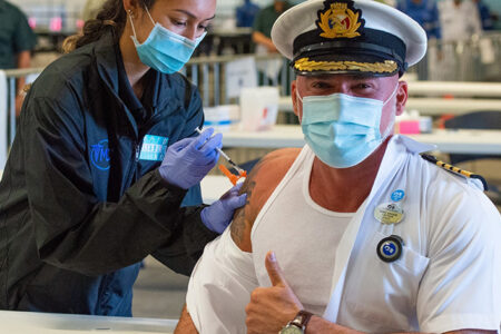 Majestic Princess Crew Members Receive COVID-19 Vaccines at the Port of Los Angeles